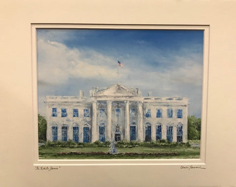 "Art | The White House | Giclee with Hand Signed Mat by Claire Howard | 8"" x 10"""