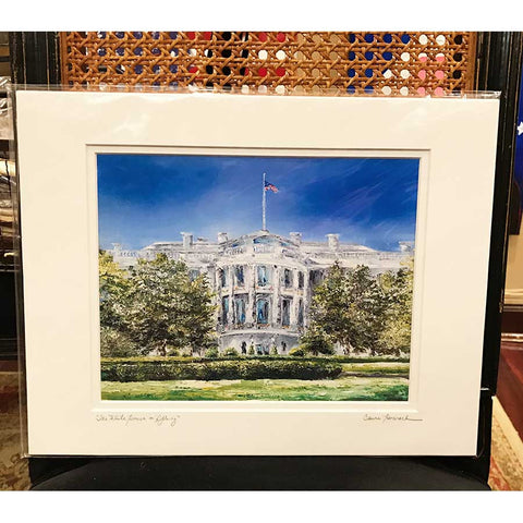 "Art | The White House in Spring | Giclee with Mat by Claire Howard | 8"" x 10"""