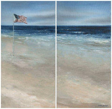 "Art | America, the Beautiful Shores | Original Oil Paintings by Claire Howard | Diptych 31"" x 30"""