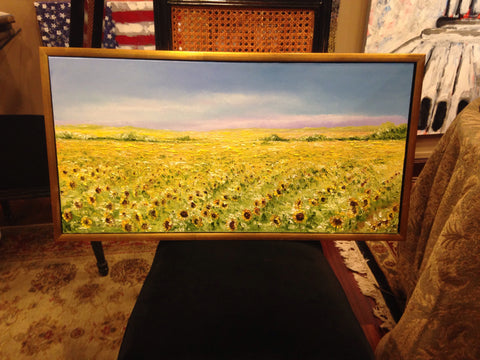 Art | Sun Flower Oil Painting | Walking In Sunshine With You II | Original Oil Painting | Custom Frame | 31.5 by 16.5 Inches | Sold