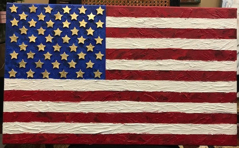 Freedom | American Flag | Original Mixed Media on Canvas by Sue Israel | 18 by 30 Inches
