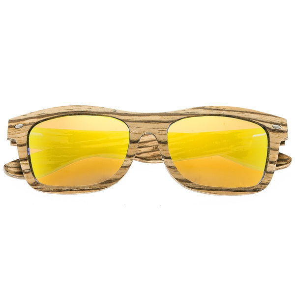 Earth Wood Maya Sunglasses w/Polarized Lenses - Zebrawood/Yellow - Earth Wood Goods - Wood Watches, Wood Sunglasses, Natural Cork Bags