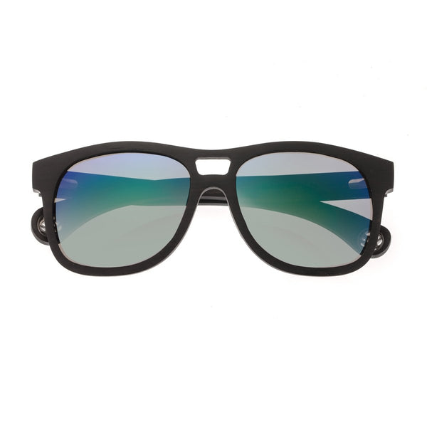 Earth Wood Las Islas Sunglasses w/ Polarized Lenses - Ebony/Blue-Green - Earth Wood Goods - Wood Watches, Wood Sunglasses, Natural Cork Bags
