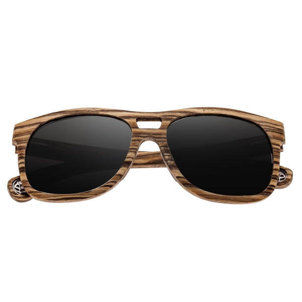 Earth Wood Las Islas Sunglasses w/ Polarized Lenses - Zebrawood/Silver - Earth Wood Goods - Wood Watches, Wood Sunglasses, Natural Cork Bags