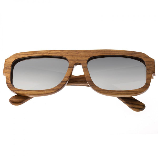 Earth Wood Daytona Sunglasses w/ Polarized Lenses - Zebrawood/Silver - Earth Wood Goods - Wood Watches, Wood Sunglasses, Natural Cork Bags