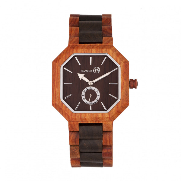 Earth Wood Acadia Bracelet Watch - Dark Brown/Red - Earth Wood Goods - Wood Watches, Wood Sunglasses, Natural Cork Bags