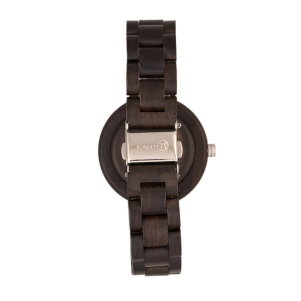 Earth Wood Mimosa Bracelet Watch w/Day/Date - Dark Brown - Earth Wood Goods - Wood Watches, Wood Sunglasses, Natural Cork Bags