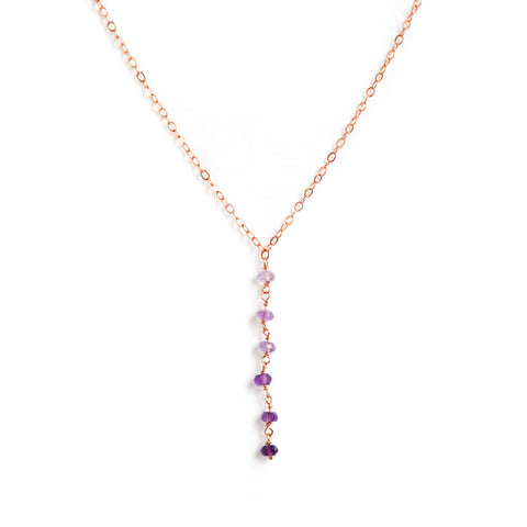 Dusk Necklace - Rose Gold Y Necklace with Ombre Purple Amethyst