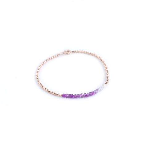 Bubbles Bracelet - Rose Gold Beaded Bracelet with Ombre Amethyst