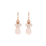 Rose Gold Short Dangle Earrings with Rose Quartz and Swarovski Crystals