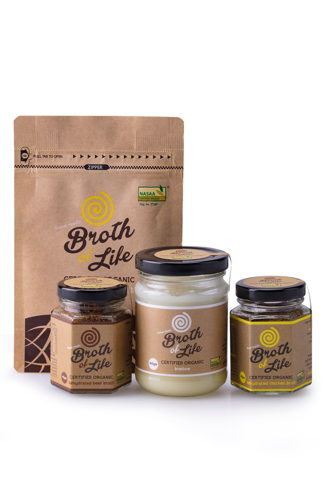 A 45 gram jar of beef bone broth, a 45 gram jar of chicken bone broth, a 100 gram satchel of chicken broth salt and a 160 gram jar of beef brellow