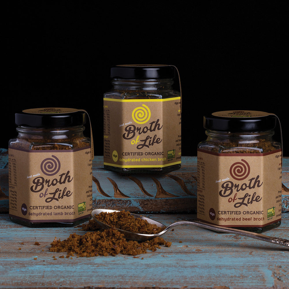 3 jar Sample Pack of organic dehydrated Bone Broth - 1 beef bone broth (45gm), 1 chicken bone broth (45gm), 1 lamb bone broth (45gm)