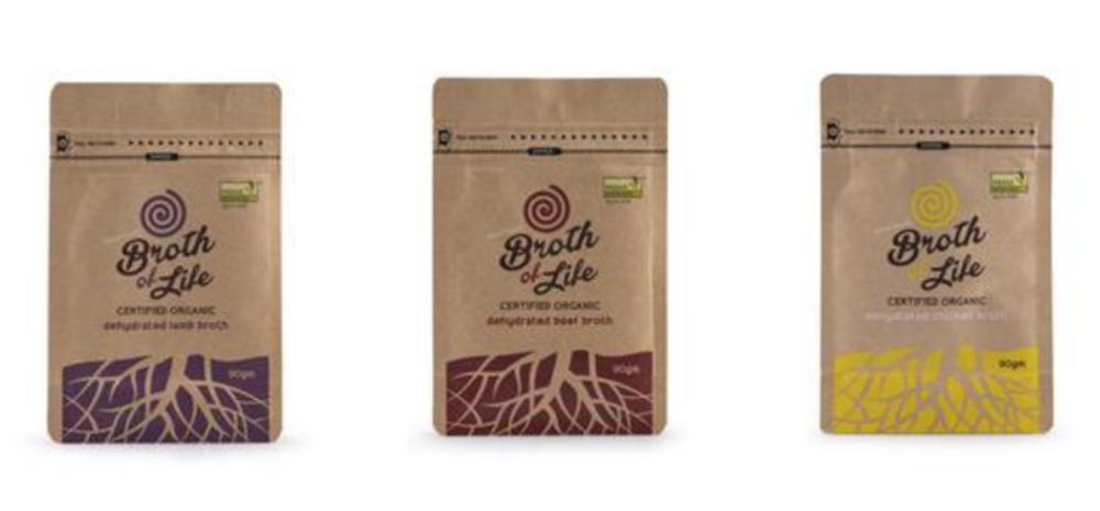 3 Bone Broth Refill Satchels - 1 beef bone broth (90gm), 1 chicken bone broth (90gm), 1 lamb bone broth (90gm)