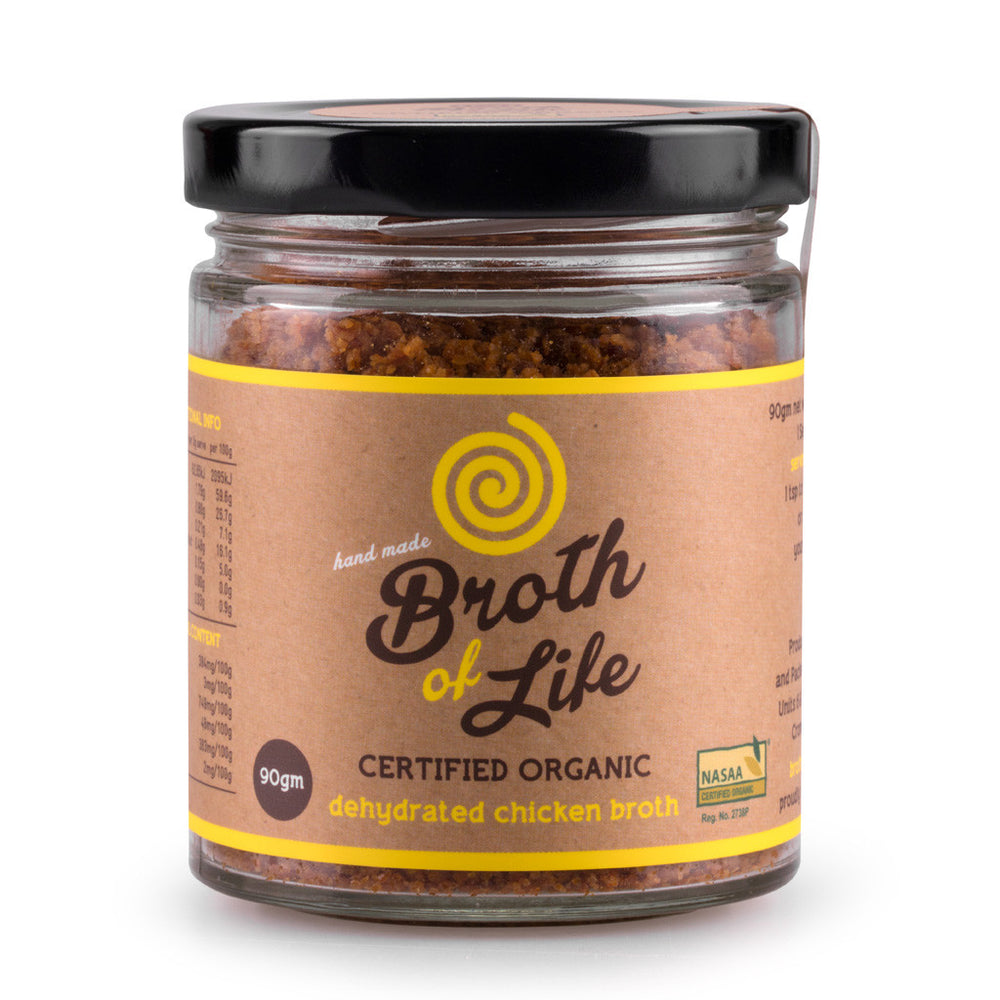 Large 90 gram jar of organic free range Chicken Bone Broth