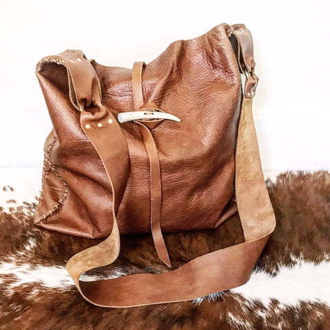 Antler + Whiskey Leather Crossbody