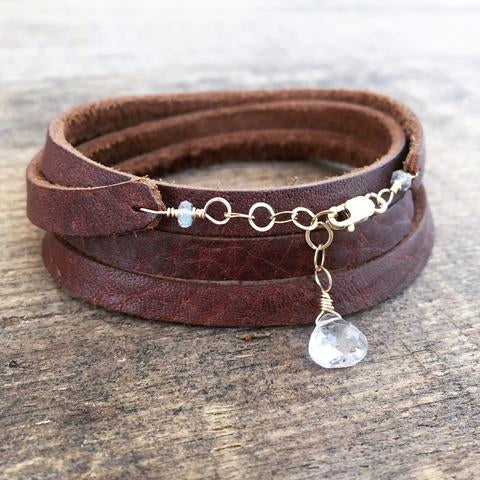 Make Your Own Crystal + Leather Wrap Bracelet