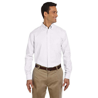 Harriton Mens Long-Sleeve Oxford with Stain-Release - EZ Corporate Clothing  - 5