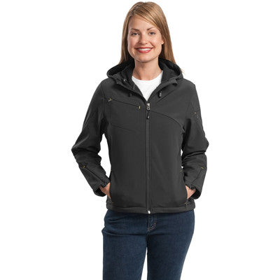 Port Authority Ladies Textured Hooded Soft Shell Jacket - EZ Corporate Clothing  - 4