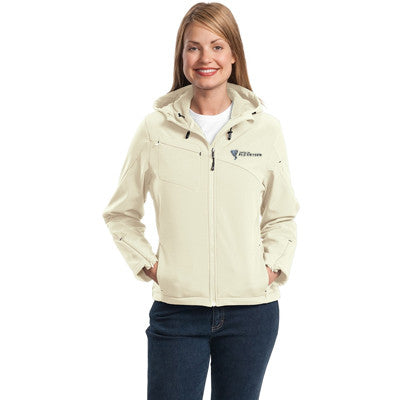 Port Authority Ladies Textured Hooded Soft Shell Jacket - EZ Corporate Clothing  - 3