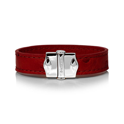 D'Monti D'Amour Red - France Luxe Genuine Ostrich Leather Mens Single Bracelet