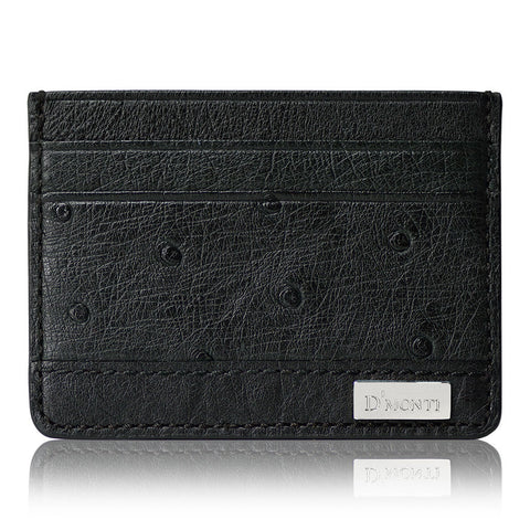 DMonti Nero Black - Exotic Ostrich Leather Card Holder Slim Wallet Front View