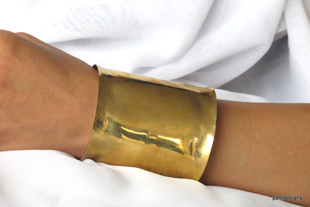 Gold Wonder Woman Brass Cuff, super wide wrist cuff - PZM Designs