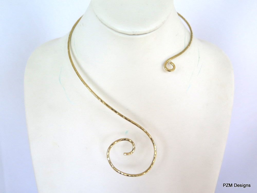 Asymmetrical brass collar - PZM Designs, asymmetrical necklace