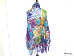 Luxury silk crochet kimono shawl with fringe,  beautiful handmade unique wrap, gift for her - PZM Designs
