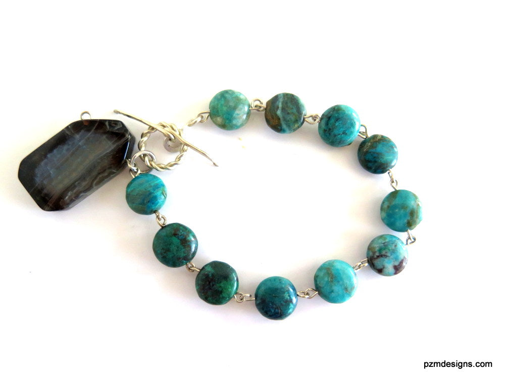 Chrysacolla Tennis Bracelet with Toggle Closure