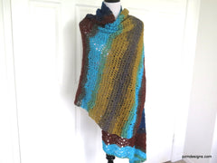 Large Colorful Hand Crochet Shawl, Gift for her