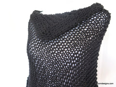 Black Asymmetric Hand Knit Poncho, Evening Black Wrap