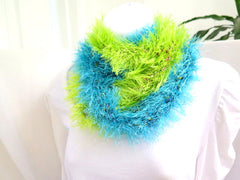 Blue and Green Fur Infinity Scarf - PZM Designs