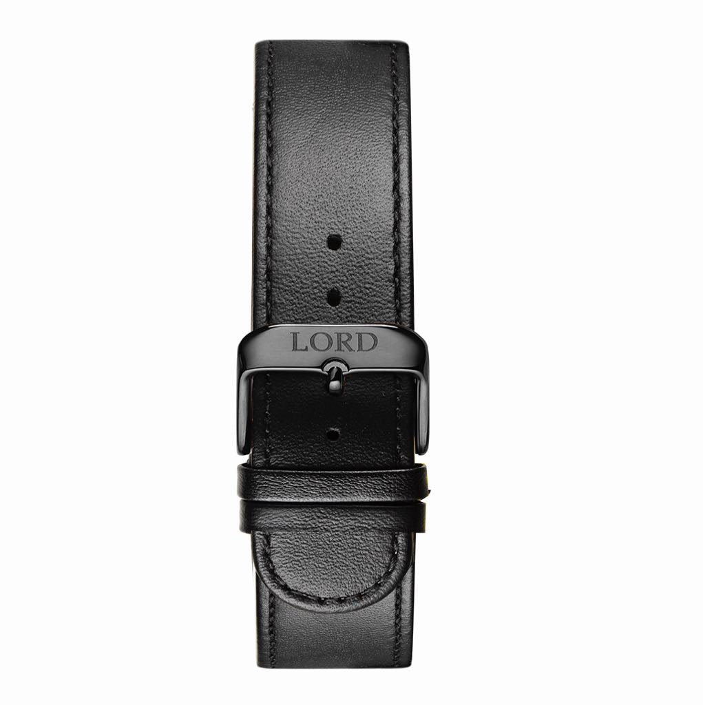 22mm Natural Black Leather