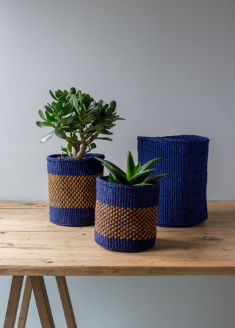 Open Weave Kenyan Baskets - Blue/Grey