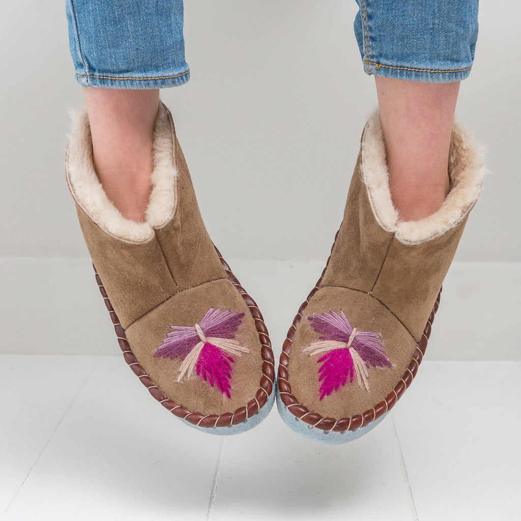 Children's Handmade Moccasin Boots - Rhubarb