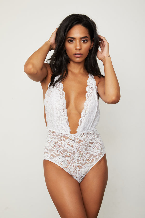 white lace deep v-neck bodysuit