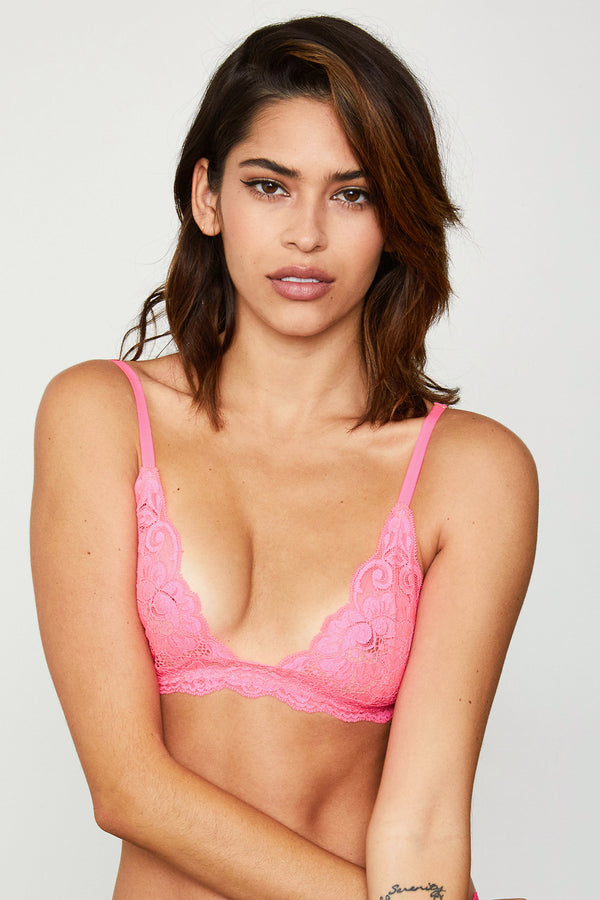 Hot pink lacy bralette.