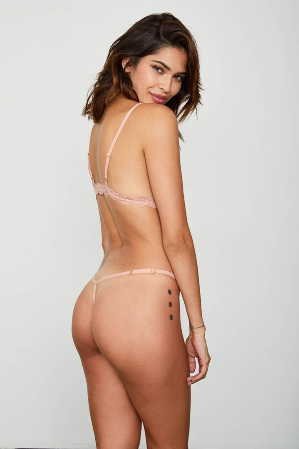 rose pink mesh thong panty sexy one size