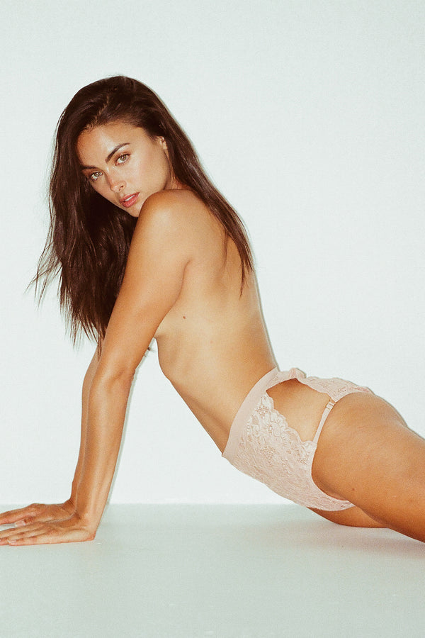 pink hi-waisted lace panty with full coverage