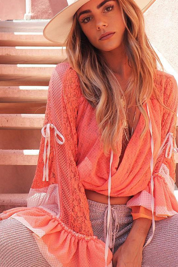 pink kimono inspired wrap top lace bell sleeves