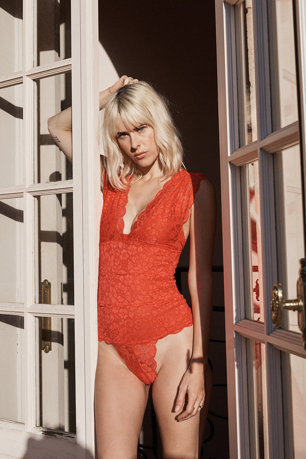 red lace v neck bodysuit with adjustable straps