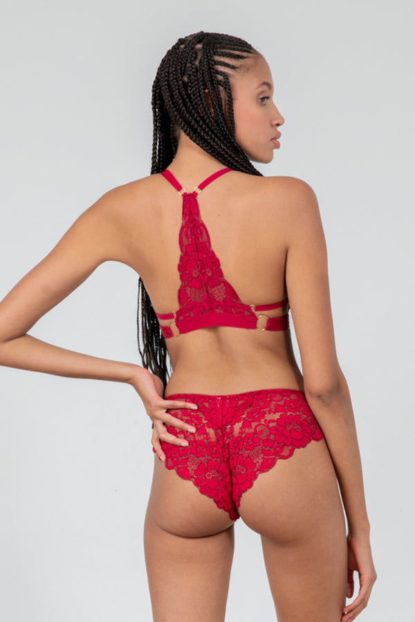 dark red stretch lace panty with cheeky coverage machine washable