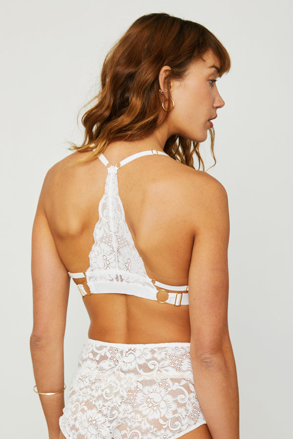 White lace racer-back bralette with fully-adjustable straps for maximum comfort & support.
