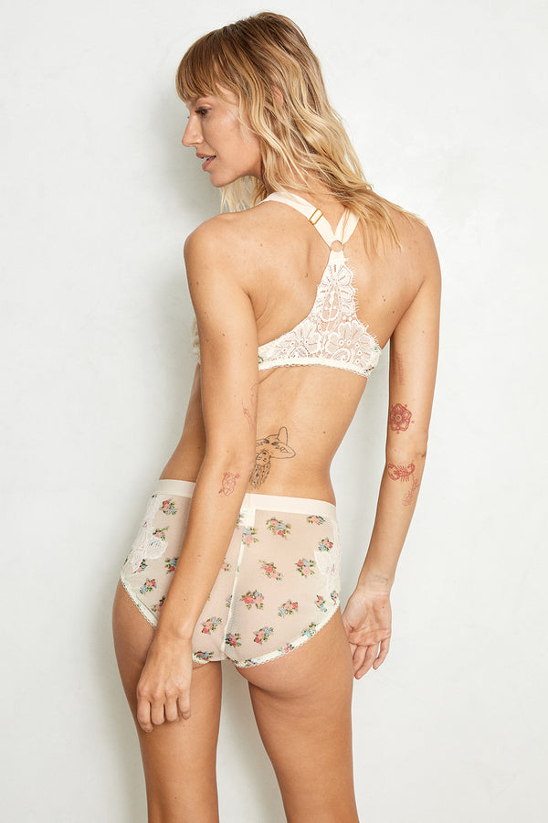 white and pink floral lace appliqué mesh hi-waisted panty with full coverage