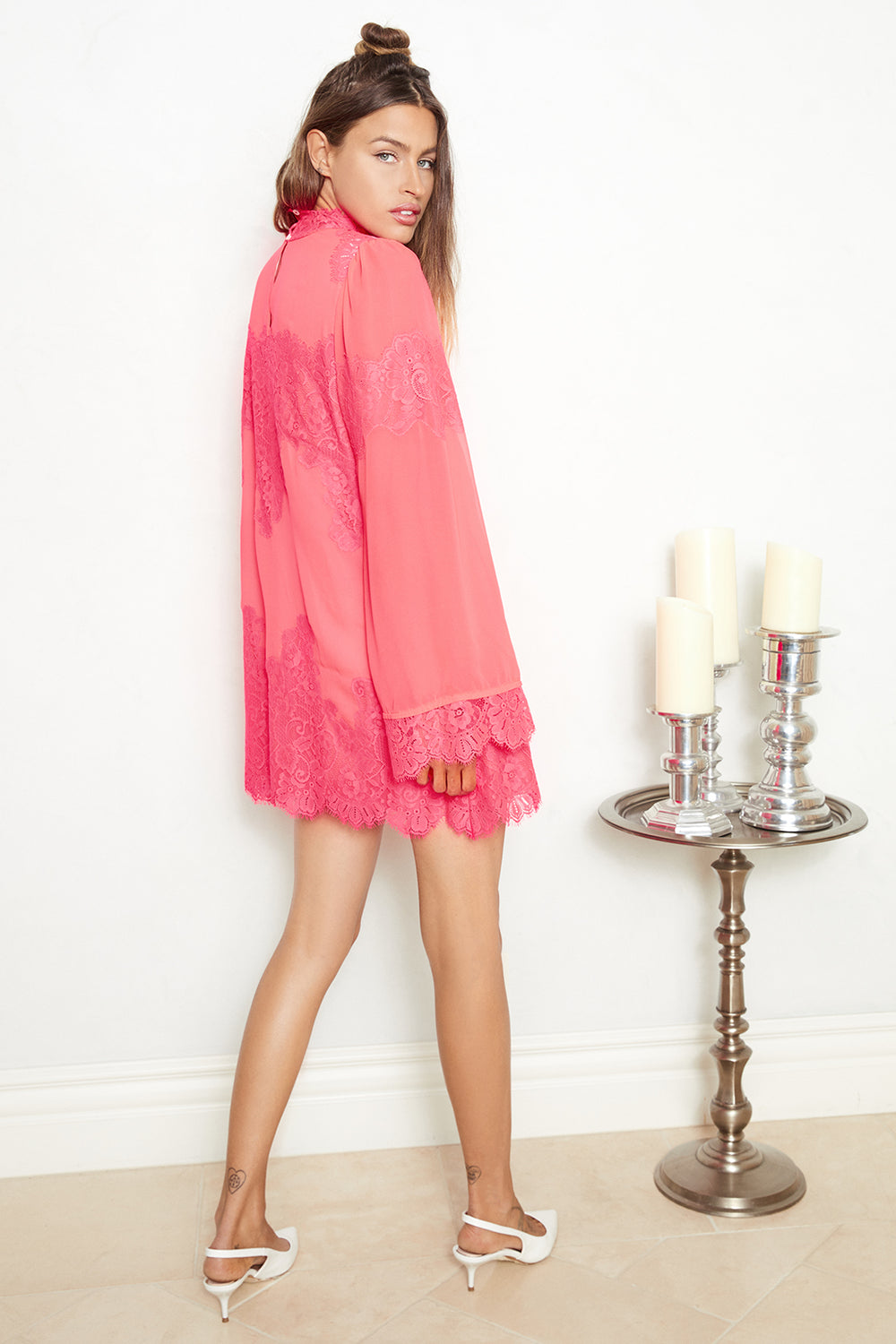hot pink lace and chiffon victorian high neck long sleeve mini dress bell sleeves machine washable