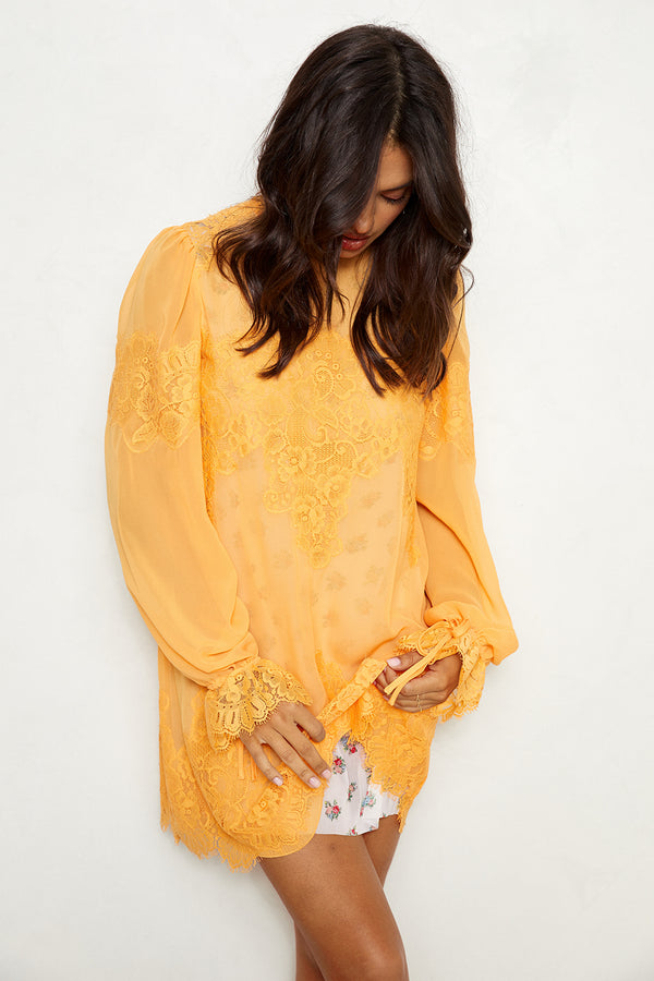 orange floral lace and chiffon victorian high neck long sleeve mini dress bell sleeves machine washable