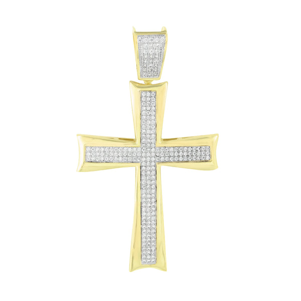 Jesus Cross Pendant Yellow Gold Finish Franco Chain