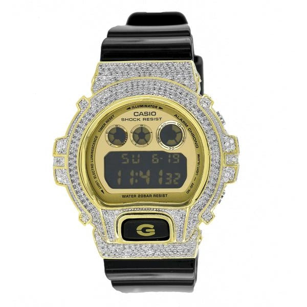 G Shock Watch Mens Gold Dial Glossy Black Band DW6900CB-1DS