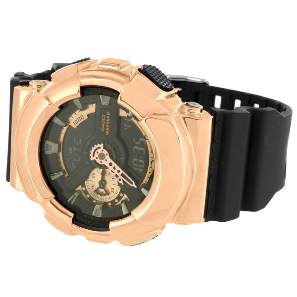 GA110RG-1A Rose Gold Tone Watch G-Shock Black Resin Band Analog Digital Custom