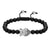 Designer Buddha Head Charm Matte Black Bead Bracelet New Braided Lock